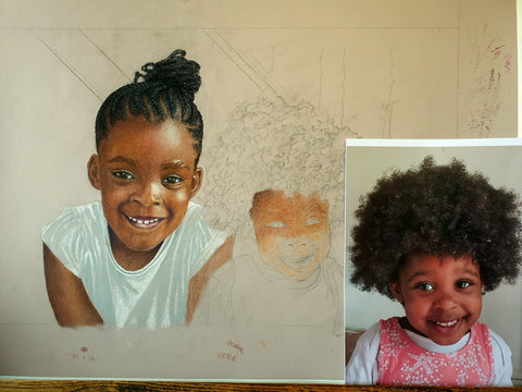 Savannah and Tiana, artwork in progress, Ivan Jones pastel artist