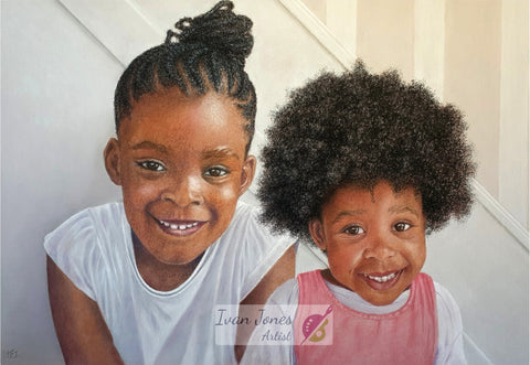 Savannah and Tiana. Commissioned portrait. Ivan Jones pastel artist