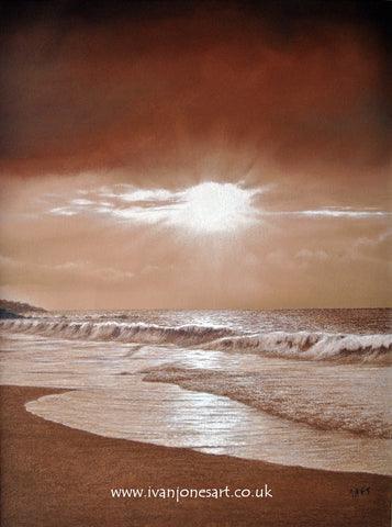 Sepia tide seascape pastel artwork sold Ivan Jones artist