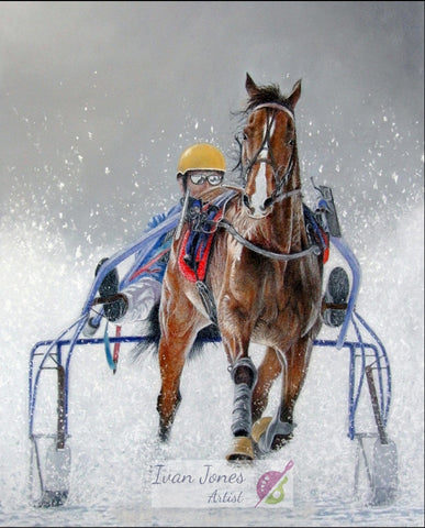 Sleigh Ride. Pastel painting by Ivan Jones artist
