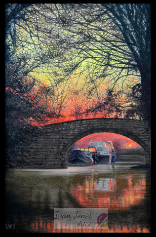 Sunset over the canal. Pastel artwork. Ivan Jones artist