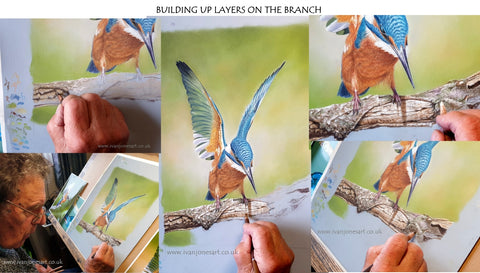 Adding the branch to the kingfisher painting
