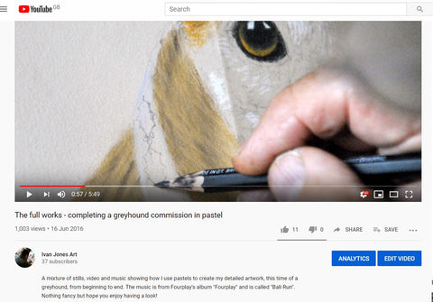 Christmas greyhound YouTube video Screenshot Ivan Jones pastel artist