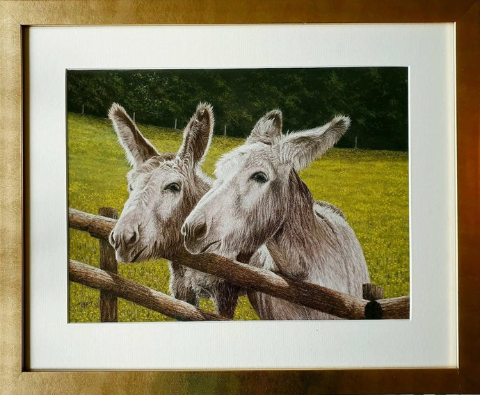 Best Mates Donkeys Framed Ivan Jones pastel artist