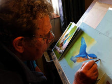 Charger l'image dans la galerie, Making a splash - diving kingfisher artwork in progress - Ivan Jones Pastel Artist