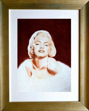 Load image into Gallery viewer, Norma Jean in sepia in frame. Pastel portrait of Marilyn Monroe Ivan Jones artist