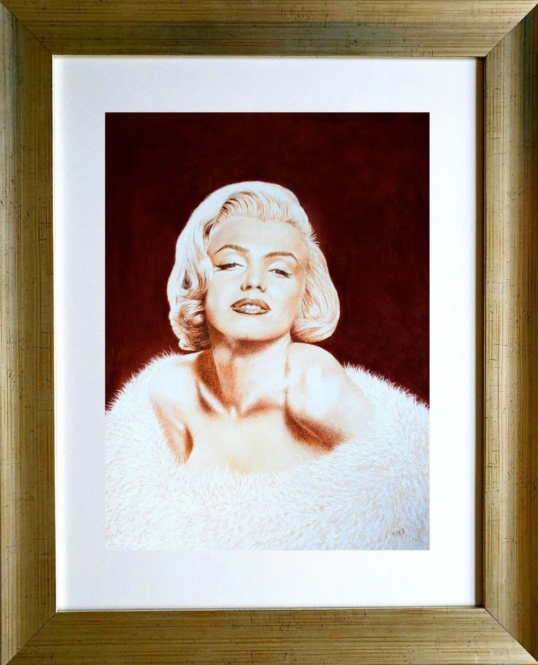 Norma Jean in sepia in frame. Pastel portrait of Marilyn Monroe Ivan Jones artist