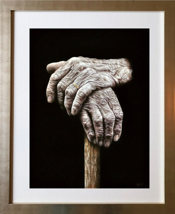 Resting hands framed Ivan Jones pastel artist