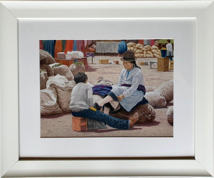 Shoeshine boy framed Ivan Jones pastel artist