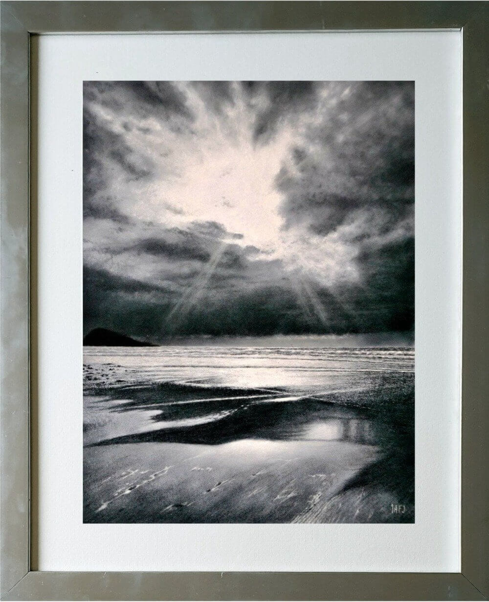 Silvertide seascape framed Ivan Jones pastelartist