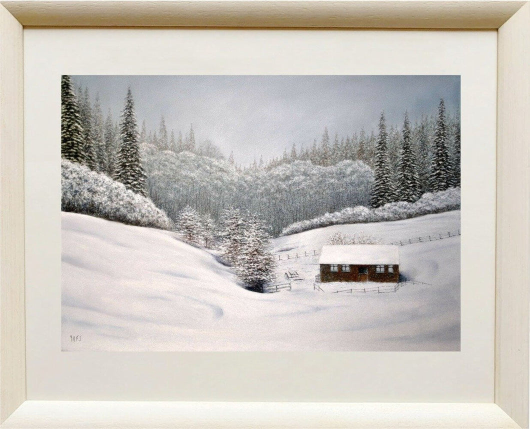 Snow in the valley framed Ivan Jones pastel artist
