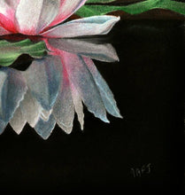 Lade das Bild in den Galerie-Viewer, Waterlily reflections. Detail of signature. Ivan Jones Pastel Artist