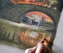 Charger l'image dans la galerie, Sunset over the canal near Ripon, Yorkshire, Artwork in progress. Ivan Jones Pastel Artist