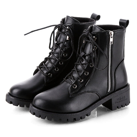 Winter Ankle Boots Pu Leather  Work Shoes Round Toe Lace-Up