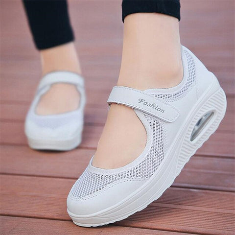 Women Flat Platform Shoe Breathable Mesh Casual Shoes