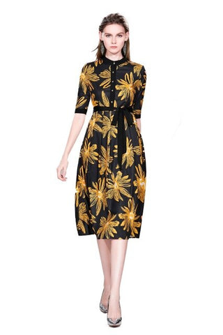 Printed Pleated Dress With Round Collar And Waistband