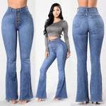 Woman Blue Flare Pants Fashion High Waist Jeans Full Length