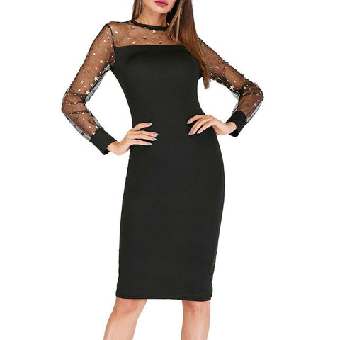 Summer Elegant Dress Lady Mesh Transparent Dresses Bodyslim