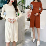 Elegant Ruffles Maternity Knitted Dress Clothes