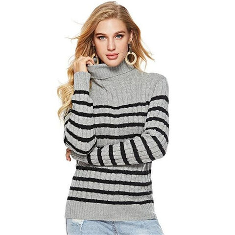 Women Striped Printed Sexy Turtleneck Slim Pullovers
