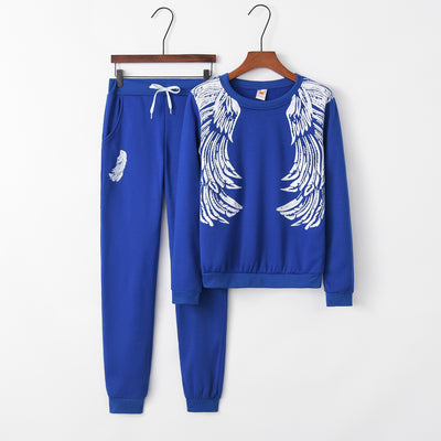 Wings Pattern Tracksuit Women Set Outfits Sports Tracksuits