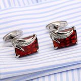 Silver Plating Red Zircon Men Shirt cufflinks