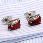 Sapphire Blue Stone Jewel Silver Square Cufflinks Formal Suit UK