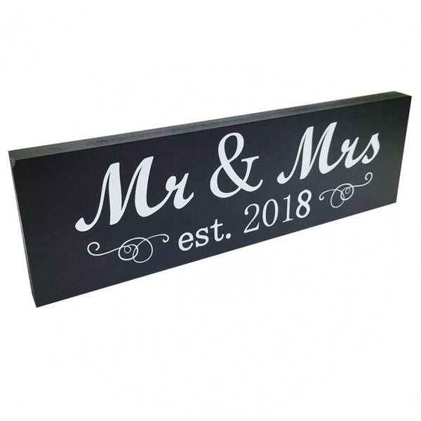 Mr & Mrs est. 2018 Wooden Sign Block Sign Plaque Wedding Present Newlywed Gift Decoration - Your Affordable Wedding