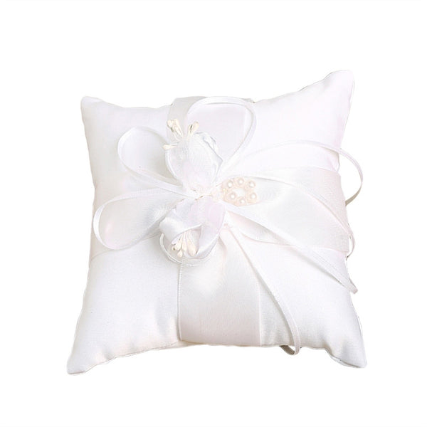 Lovely Flower Buds Wedding Decoration Romantic Gift Creative Pillow Square Pillow with Ribbon for Decor Bridal Wedding Ceremony(White) - Your Affordable Wedding