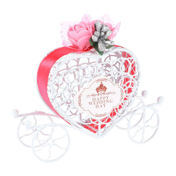 Heart Shaped Carriage Designed Hollow Candy Gift Box For Wedding Birthday Baby Shower Graduation Christmas Party (Rosy) - 12x8x3.5cm - Your Affordable Wedding