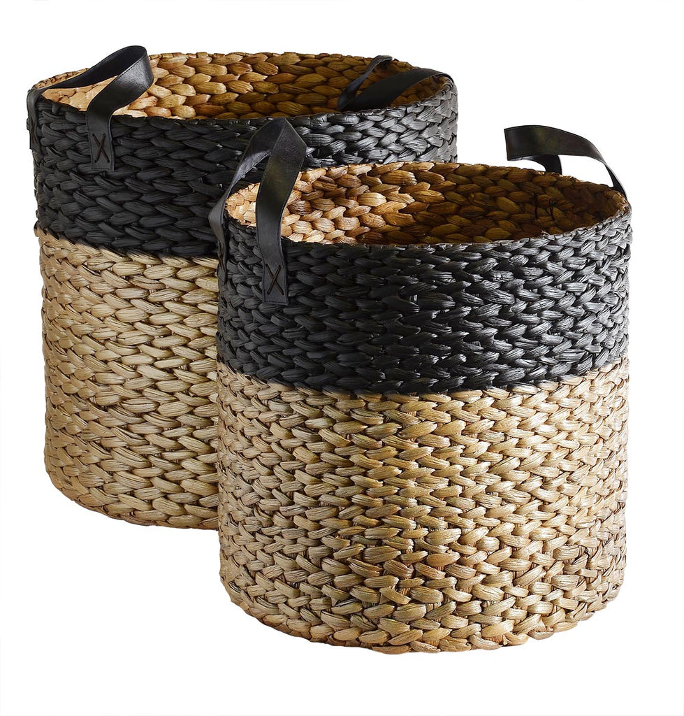 Hyacinth Natural/Black Basket - Large