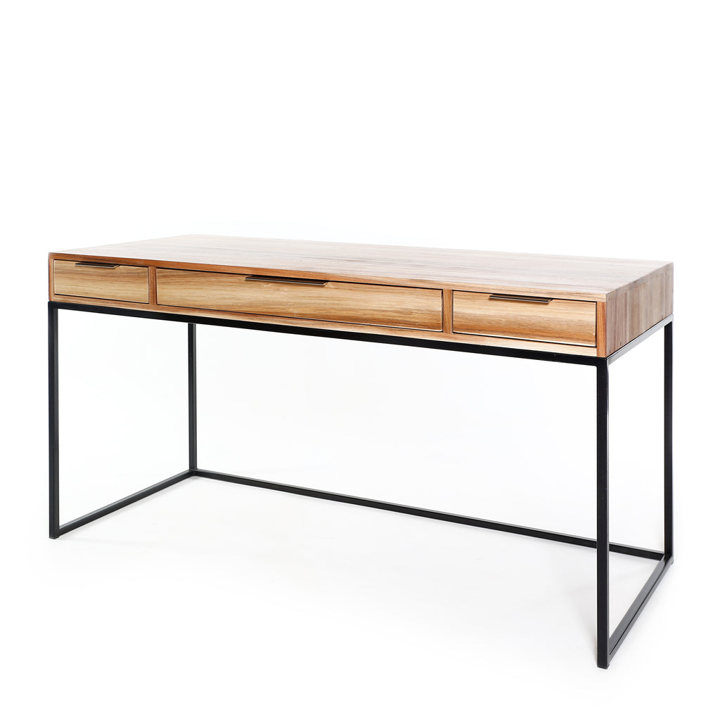 Steel frame desk with drawers