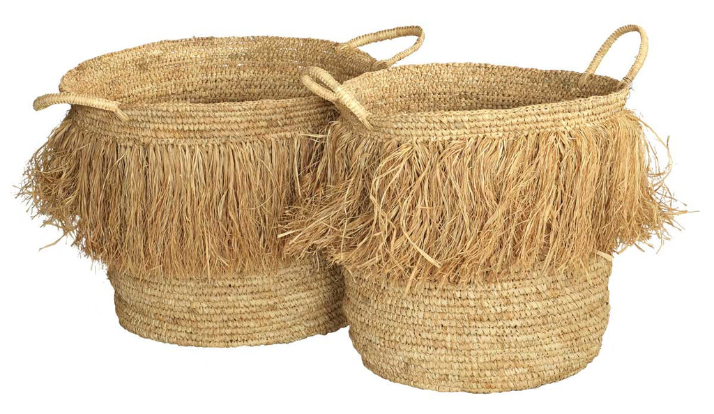 Natural Tassle Basket - Large