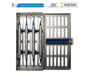 Periotomes (Micro Serration) Atraumatic Extraction Set of 4 With Sterilization Cassette