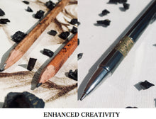 Load image into Gallery viewer, Enhanced Energy Shungite Pen & Pencil Set,  Designed to Improve your drawing and writing and totally enhance your creative flow. Do you ever get writers block? Do you need inspiration with your drawing, writing and art? Shungite provides a positive powerful energy that uplifts creativity in a remarkable way. Our creativity boosting pen and pencils keep you in contact with Elite Shungite crystals whilst you draw or write. https://shungiteuk.com/