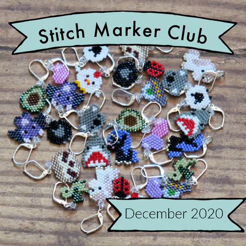 "A collection of beaded stitch markers are on a wooden background. There is a banner at the top saying ""Stitch Marker Club"" and a banner at the bottom saying ""December 2020"""