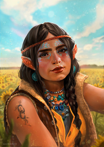 "A halfling lady in a field on sunflowers. She's wearing a yellow dress with a yellow and teal button necklace on. She has bright turquoise tattoos around her eyes and a tattoo that says ""CC"" on her arm."
