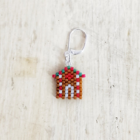 Gingerbread House Beaded Stitch Marker