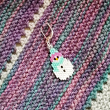 Turquoise Snowman Beaded Stitch Marker