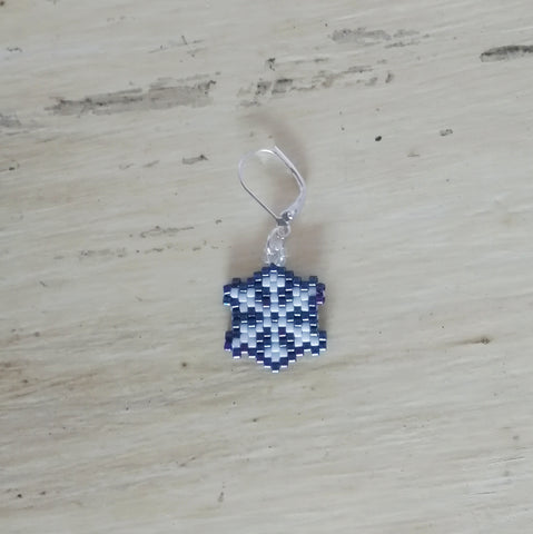 Iridescent Purple Snowflake Beaded Stitch Marker