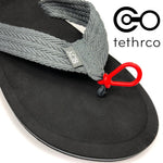 Tethrco is proud to bring you Toe Tethers! The only flip-flop product made to keep them where they belong, on your feet! Our patented, Made in Minnesota, silicone rubber loops connect to your sandals and slip over your toe when you need that added hold, while in the water or getting active in everyday life. Have them on your flip-flops and be ready for whatever! Kids love them and parents do too! One size fits most.