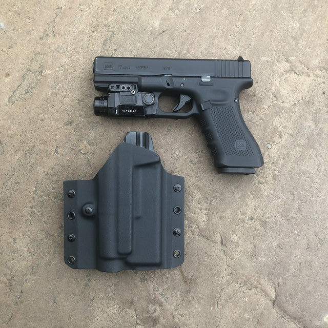 LIGHT BEARING GLOCK 17 KYDEX OWB HOLSTER FOR VIRIDIAN X5L WITH INSTANT ON