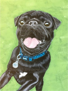 "Pet Portrait Hand Painted Original Dog Painting Oil or Acrylic on 8"" x 10"" Canvas Board from your photo"