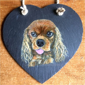 "Pet Portrait Hand Painted Original of your Dog on 7½"" x 7½"" Slate Heart"