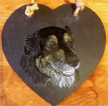 "Load image into Gallery viewer, Pet Portrait Hand Painted Original of your Dog on 5½"" x 5½"" Slate Heart"
