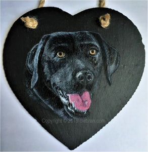 "Pet Portrait Hand Painted Original of your Dog on 5½"" x 5½"" Slate Heart"