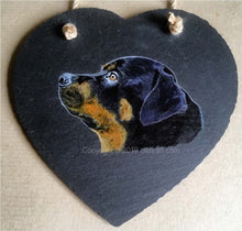 "Load image into Gallery viewer, Pet Portrait Hand Painted Original of your Dog on 7½"" x 7½"" Slate Heart"