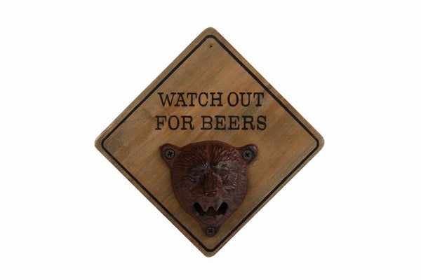 Flesopener Watch Out For Beers Hout 15x15x9cm