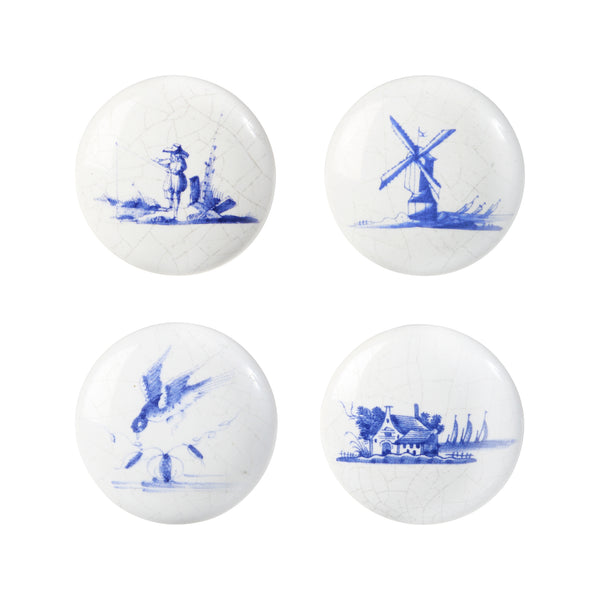 Knob Delftware Set Of 4 Wit 4x4x4cm