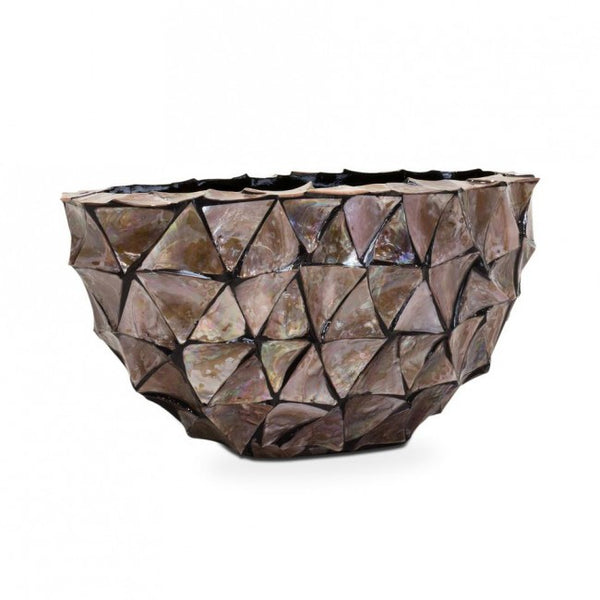 Pot Mother Of Pearl Ovaal 26x60x30cm Bruin